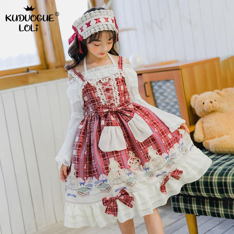 Children's Lolita Dress Spanish Dress Girls Clothing Jsk Suspender Dress Bow Ruffles Students Ball Drama Party Cosplay Costumes