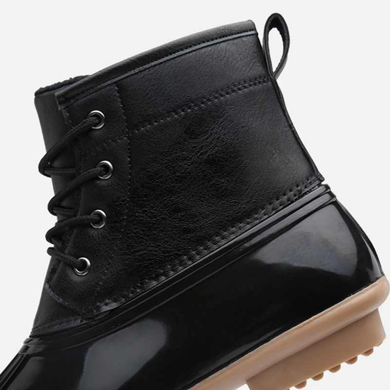 Zapatos de invierno para mujer con cordones hasta el tobillo botas de pato de lluvia con piel caliente impermeable nieve zapatos damas invierno botines cortos tamaño grande 43