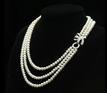 """3 row 7-8mm natural round freshwater cultured white pearl necklace 18""""-20"""