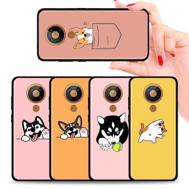 Cute Cartoon Corgi Silicone Phone Case For Nokia 2.2 2.3 3.2 4.2 7.2 1.3 5.3 8.3 2.4 3.4 C3 C2 1.4 5.4