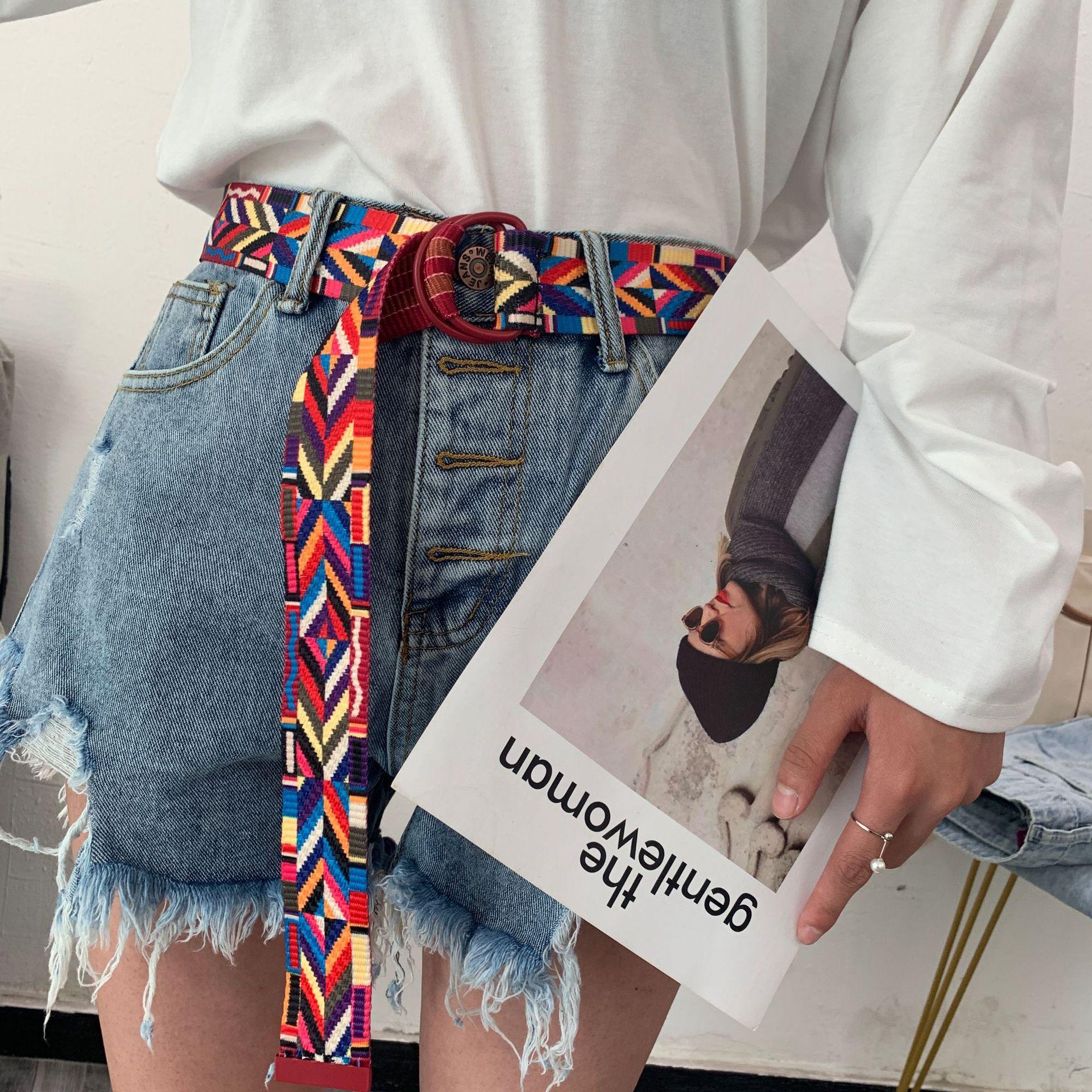 AWAYTR Hotselling Rainbow Canvas Women Belts Ethnic Style Belt Jean Belt Pin Buckle Colorful Long Waist Band