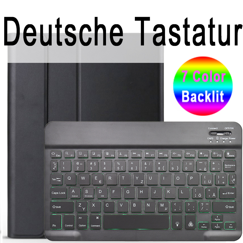 German Keyboard Colored For iPad 10 2 2019 7 7th 8th Generation A2200 A2198 A2197 Case with Backlit Keyboard