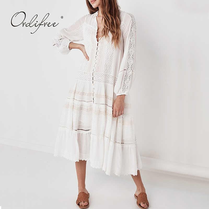 Ordifree/2020 летнее платье макси в стиле бохо с длинными рукавами, свободное белое кружевное сексуальное длинное пляжное платье-туника, праздничная одежда