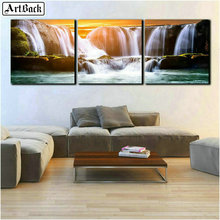 ArtBack three fight 5d diamond painting waterfall scenery full drill square landscape mosaic crafts room decorat