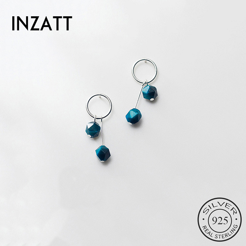 INZATT Real 925 Sterling Silver Geometric Blue Stone Stud Earrings For Fashion Women Party Fine Jewelry Ins Hot Accessories
