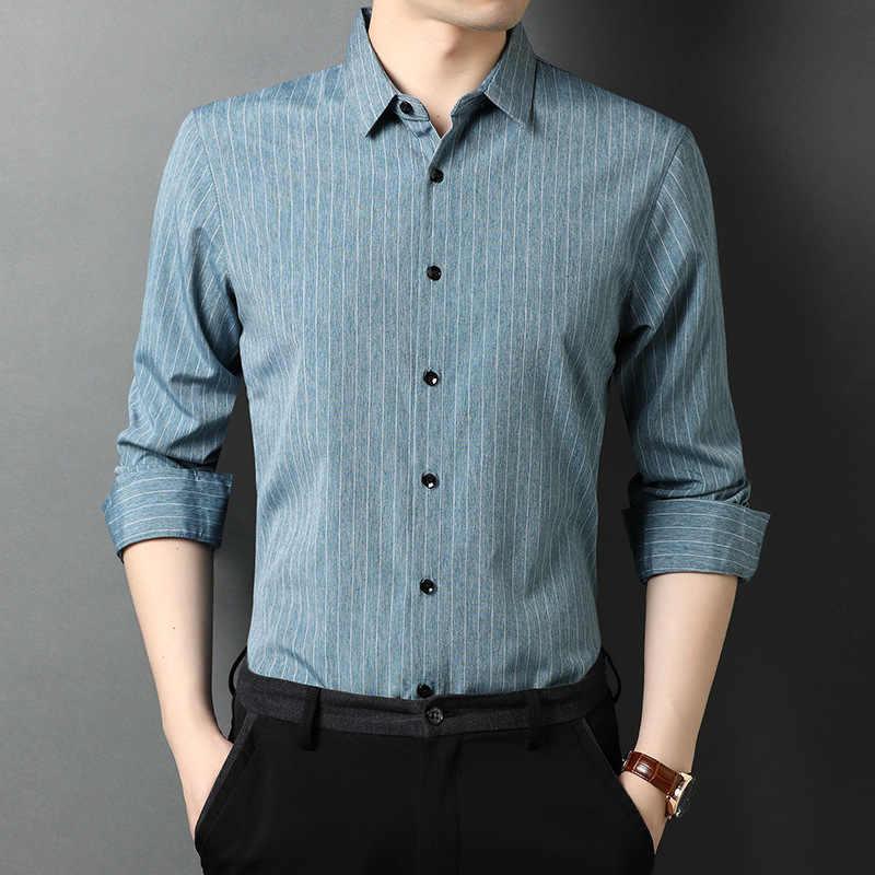 Мужская Повседневная рубашка в полоску, белая классическая рубашка с длинными рукавами, отложным воротником, осень 2020