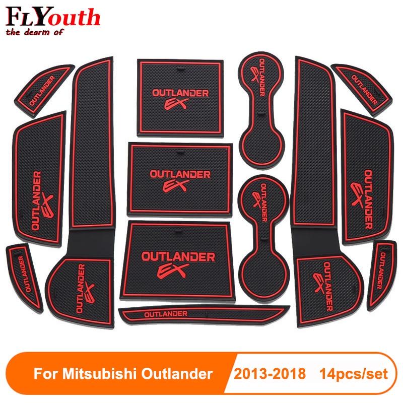 14pcs set Car Door Groove Mat For Mitsubishi Outlander 2013-2018 Auto Anti-Slip Cup Mat Non Slip Door Gate Pad Car Accessories