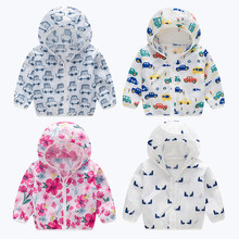 2019 Summer children's wearcartoons sun protection clothing boys girls pure cotton Anti-UV jacket Beach Zipper Clothes(China)