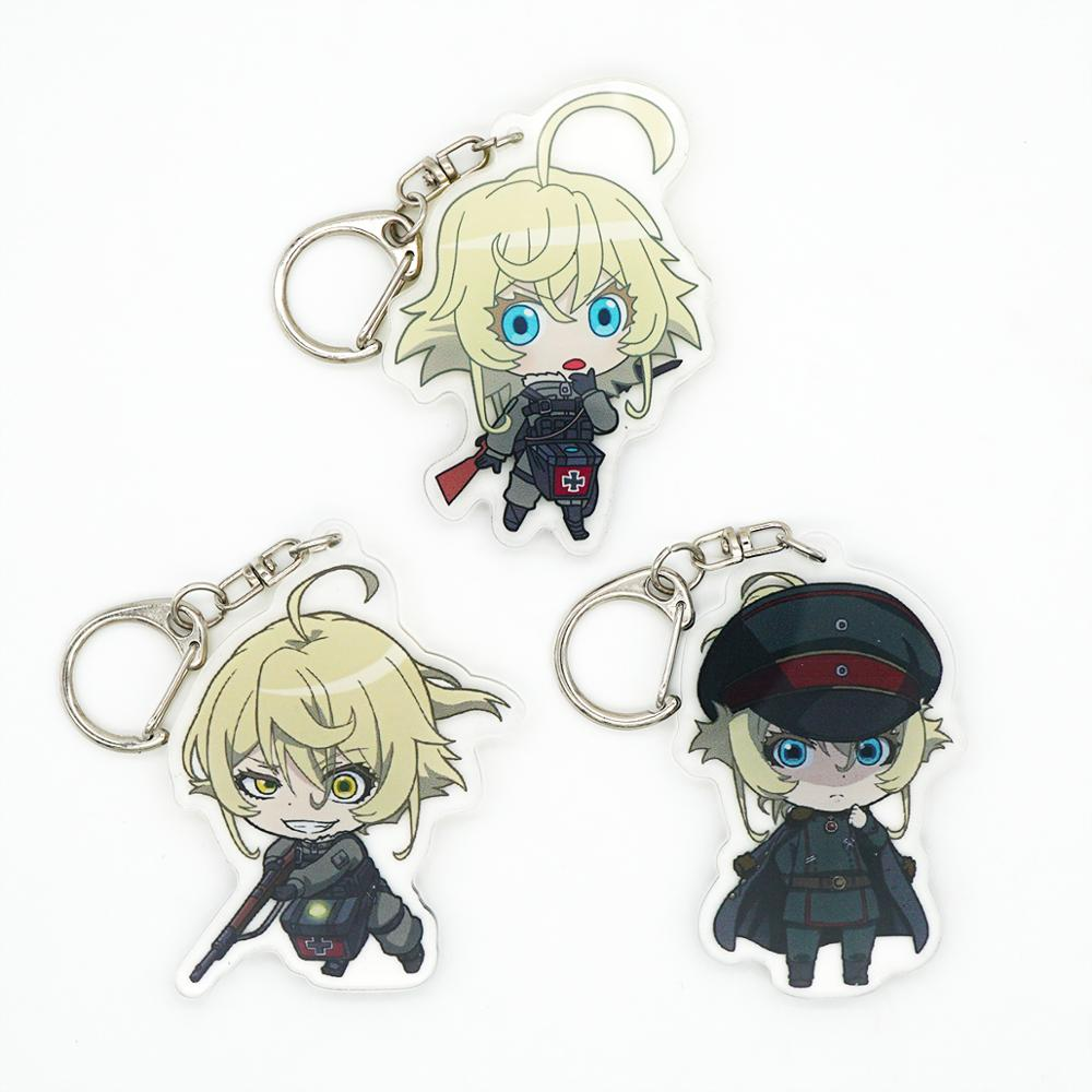 Saga of Tanya the Evil Anime Tanya Von Degurechaff Cute Acrylic Keychain Double Sided with Protection Firm(China)