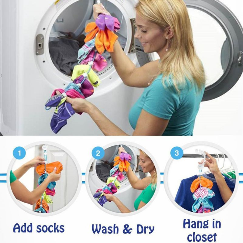 Socks Hanging-Rope Storage-Organizer Drying-Hanger Cleaning-Aid-Tool Adjustable Clips