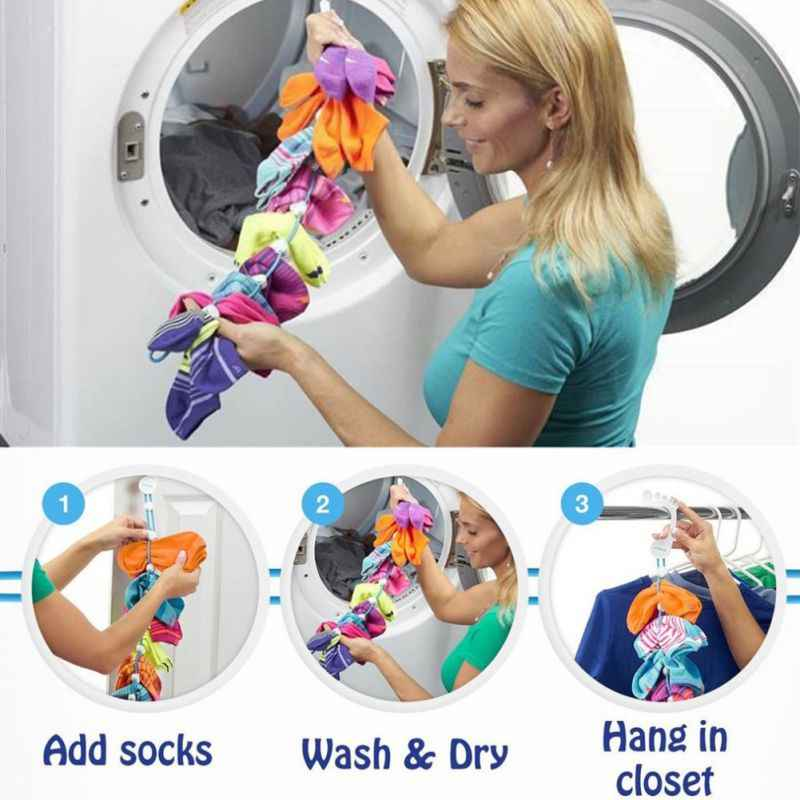 Socks Storage Organizer Sock Adjustable Non-slip Hanging Rope Hook Clips Sock Cleaning Aid Tool Socks Drying Hanger Clothesline