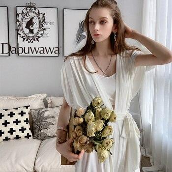 Dabuwawa White High Street Long Loose Jumpsuit Women Sashes Sexy V-Neck Sleeveless Elegant Maxi Jumpsuits Office Lady DT1BJP007