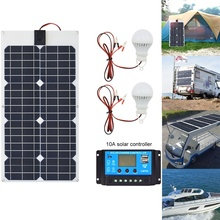 xinpuguang 30w flexible solar panel kit 12v/18v System Mono Boat Charger 10A controller 5v usb for Car Led Battery Light camping цена и фото