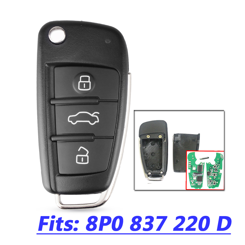 Car Remote Key For Audi A3 S3 A4 S4 TT 434MHz 8P0837220D 8P0 837 220 D 220D 2005 2006 2007 2008 2009 2010 2011 2012 2013