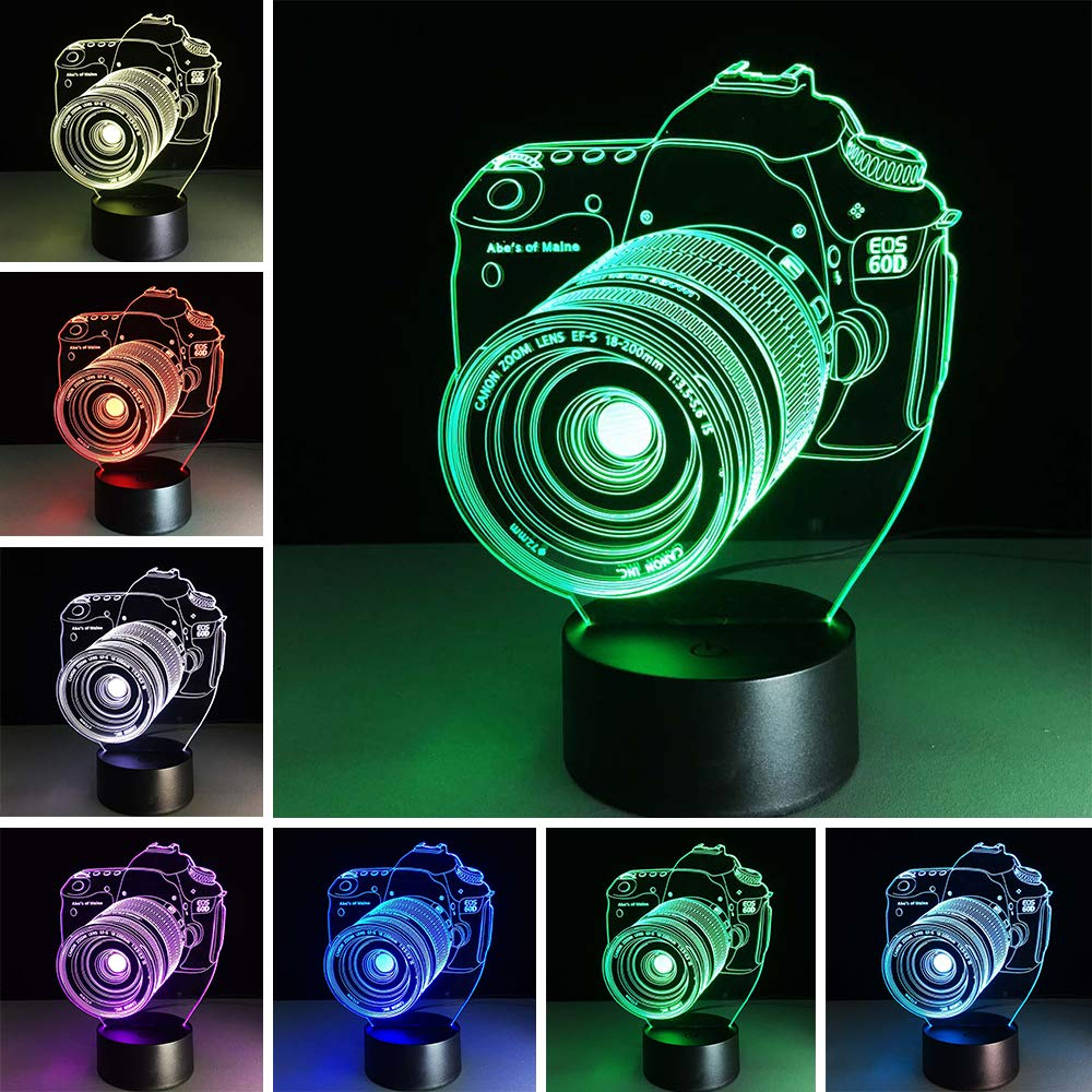 Camera 3D Night Light 7 Colors Change Night Light Touch Button Creative Design Decorative Lighting Effect Lamp