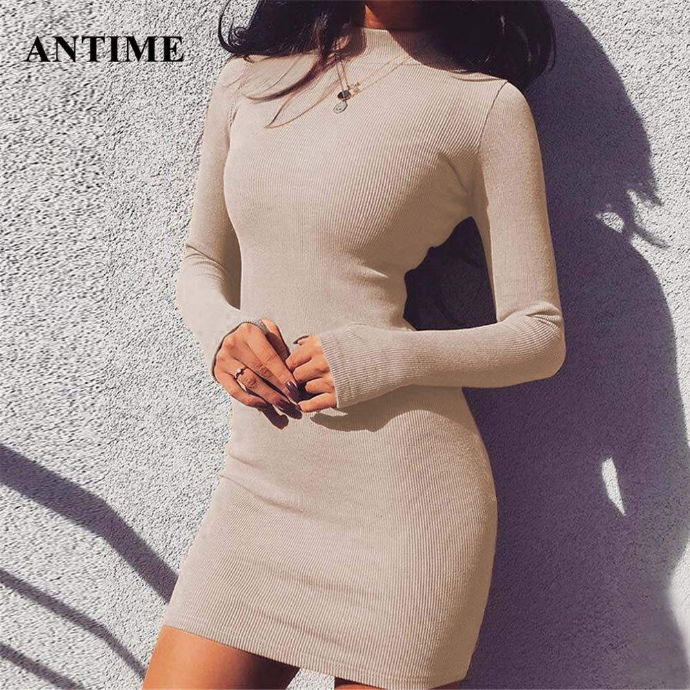 Antime Autumn Winter Sheath <font><b>Dress</b></font> <font><b>Sexy</b></font> Turtleneck Long Sleeve Solid <font><b>Party</b></font> Club Mini <font><b>Bandage</b></font> Bodycon <font><b>Dress</b></font> image