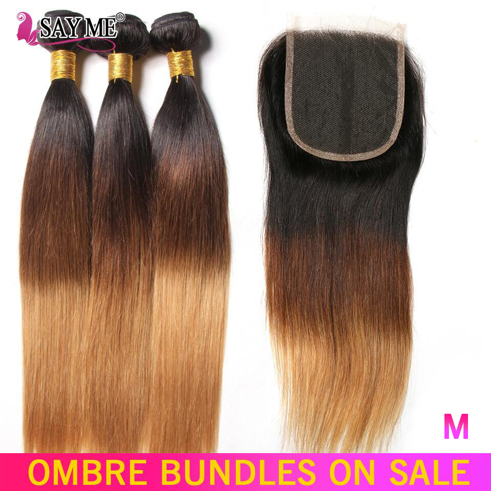 Brazilian Straight Hair Bundles With Closure 3 Tone Non-Remy Ombre Human Hair Weave 3/4 Bundles With Closure Medium Ratio