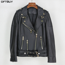 OFTBUY אביב אמיתי עור מעיל נשים 2020 אופנה אמיתי כבש מעיל חגורת רוכסן אופנוע אופנוען מעיל נשי הלבשה עליונה