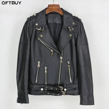 OFTBUY printemps en cuir véritable veste femmes 2020 mode réel en peau de mouton manteau ceinture fermeture éclair moto Biker veste vêtements de dessus pour femmes