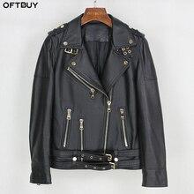 OFTBUY wiosna skórzana kurtka kobiety 2020 moda płaszcz z prawdziwej skóry owczej pas Zipper motocykl kurtka motocyklowa damska odzież wierzchnia