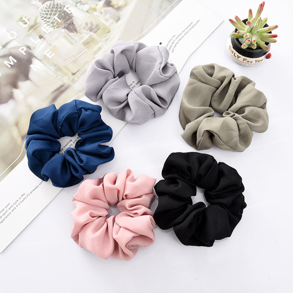 1pcs Solid Lady Hair Scrunchies Ring Elastic Hair Bands Pure Color Bobble Sports Dance Chiffon Soft Charming Scrunchies Hairband