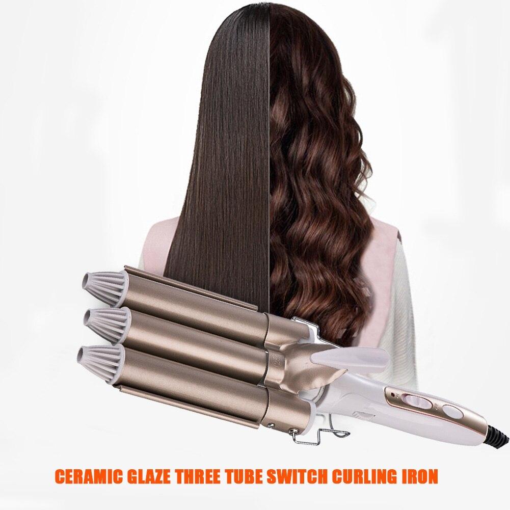 Щипцы для завивки волос профессиональные, утюжок с тремя керамическими валиками, стайлер для завивки волос, инструменты для стайлинга