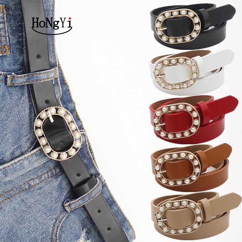 HONGYI New Fashion Pearl Decorative Belt Ladies Belt Round Pin Buckle Pearl Belts Women's Casual Solid PU Leather Thin Belt