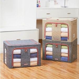 Clothing Quilt Storage Box Organizer Bag Clothes Blanket Sundries Wardrobe Organization Bag Steel Frame Foldable Storage Box