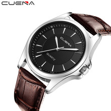 2019 CUENA watches top luxury brand mens watch Leather Band