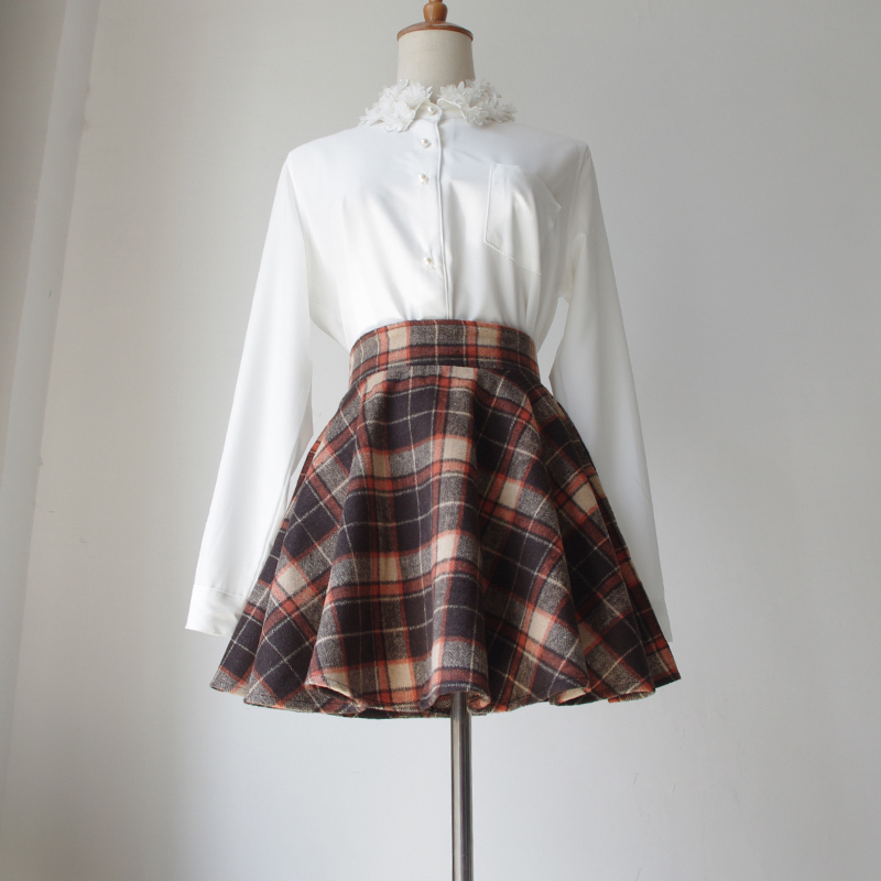 100% Cotton Skirt Above Knee Scotland Style Winter Empire Waist Thin Plaid Flare Short Mini Length School Girls Skirts