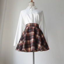 100% Cotton Skirt Above Knee Scotland Style Winter Empire Waist Thin Plaid Flare