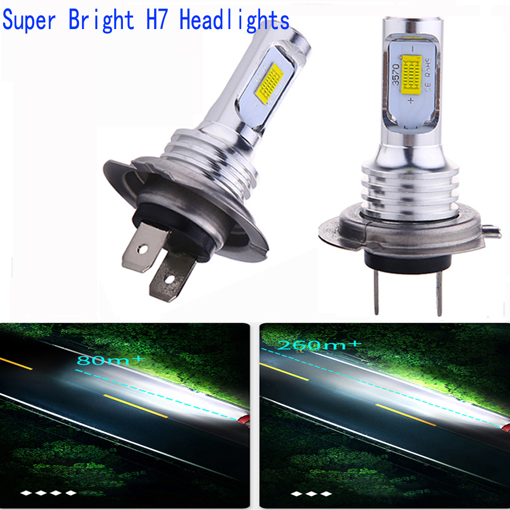 2Pcs/Lot <font><b>H7</b></font> H4 Car <font><b>LED</b></font> Headlight High Quality Car Front Bulbs H1 H11 H3 880 9005 9006 9007 12V Auto Mini <font><b>Head</b></font> <font><b>Lamp</b></font> COB Fog <font><b>Light</b></font> image