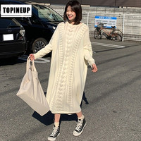 2019 Winter Hollow Out Knit Sweater Dress Solid Color O Neck Elegant Women Dresses Warm Casual Long Pullover