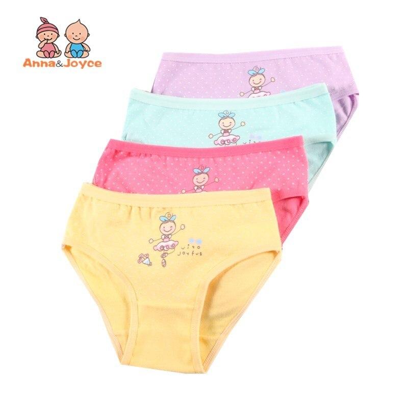 4Pc Children's Underwear Cotton Girls Shorts Cartoon Panties Briefs 2-10 Years