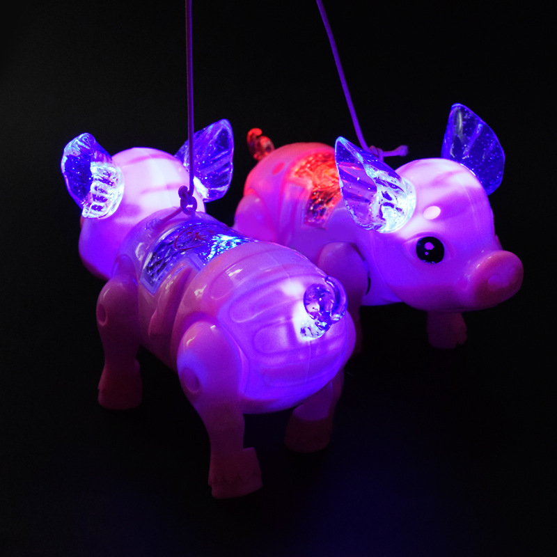 Douyin Hot Selling Electric Leash Piggy Children Music Shining Small Toy Hot Selling Stall Toy