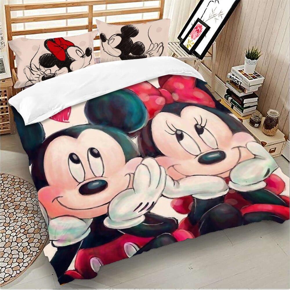 Set Biancheria Da Letto Di Mickey Minnie Mouse Queen King Size Cartoon Disney Copripiumino Singolo Matrimoniale Doppio Completo Bambini Biancheria Da Letto Per Bambini Privuo