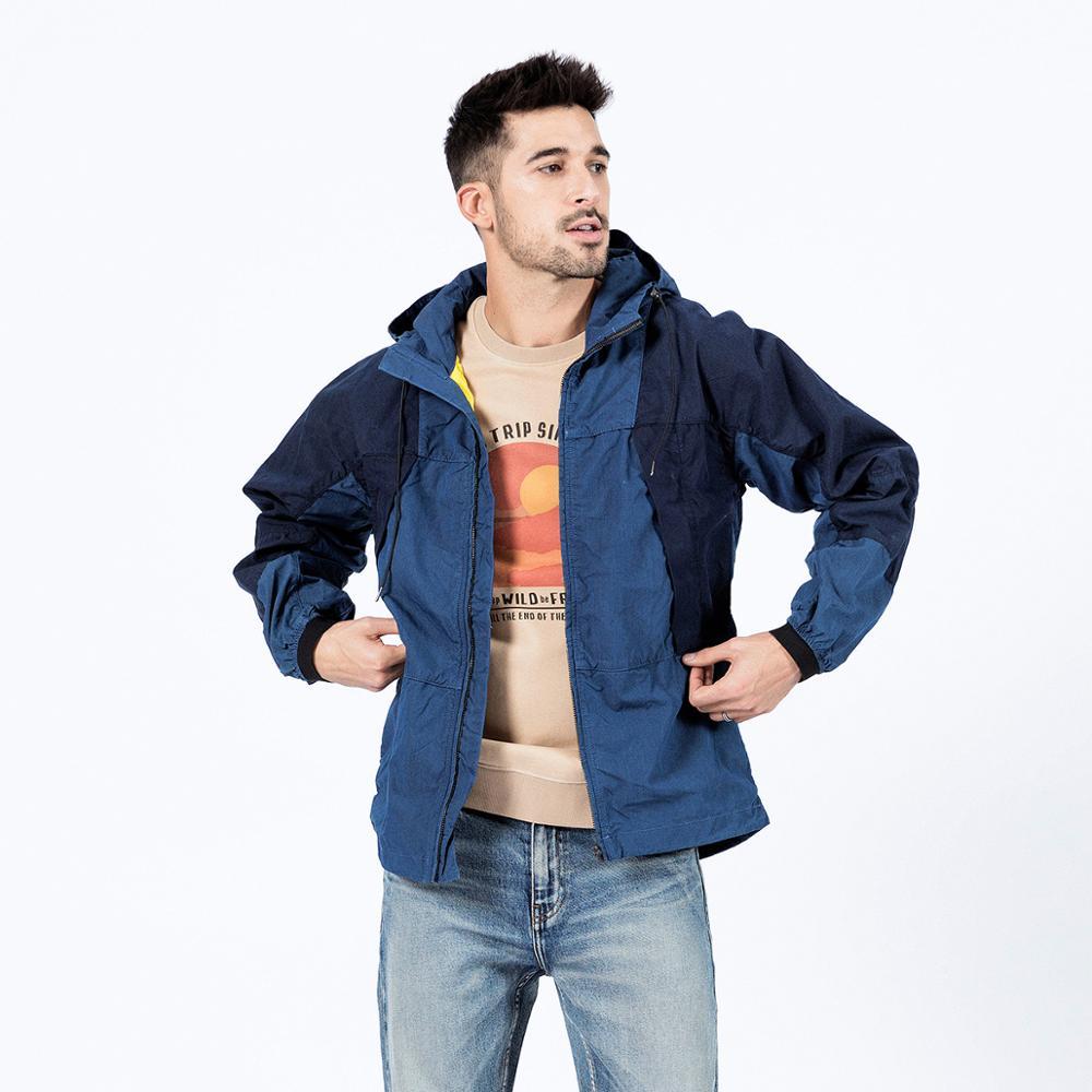 SIMWOOD 2020 Spring New Indigo-Dyed Denim Jacket Hooded Panelled Contrast Colour-Block Vintage Cargo Jackets Outerwear 190373