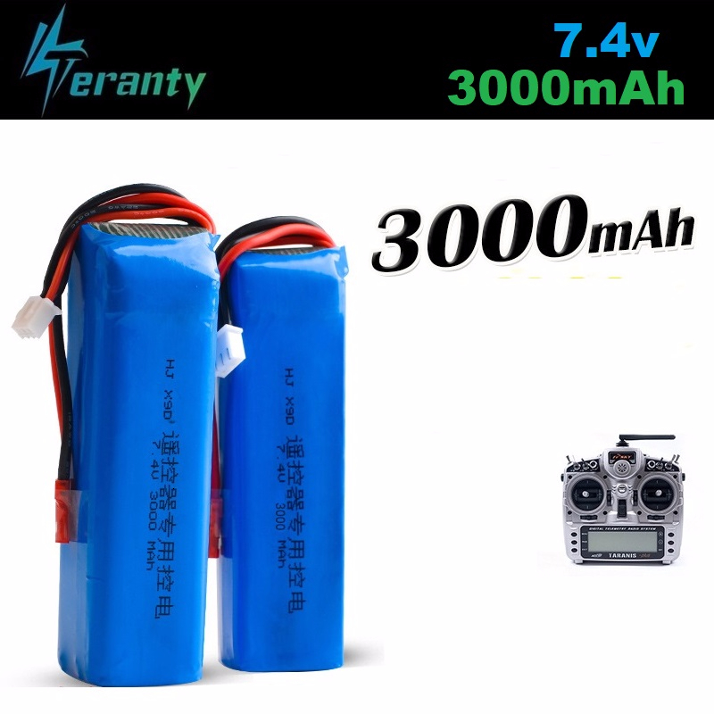 Upgrade <font><b>3000mAh</b></font> 7.4V Rechargeable <font><b>Lipo</b></font> Battery for Frsky Taranis X9D Plus Transmitter <font><b>2S</b></font> 7.4V <font><b>Lipo</b></font> Battery Toy Accessories 2pcs image