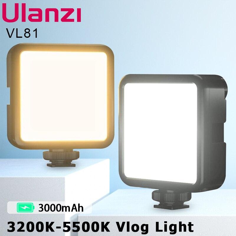 Ulanzi VIJIM VL81 3200k-5600K 850LM 6.5W Dimmable Mini LED Video Light Smartphone SLR Camera Rechargable Vlog Fill Light