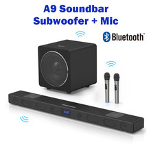 A9 Bluetooth Speaker 8 Voice units surround sound integrated home theater TV Soundbar With 8 inch subwoofer and Microphone