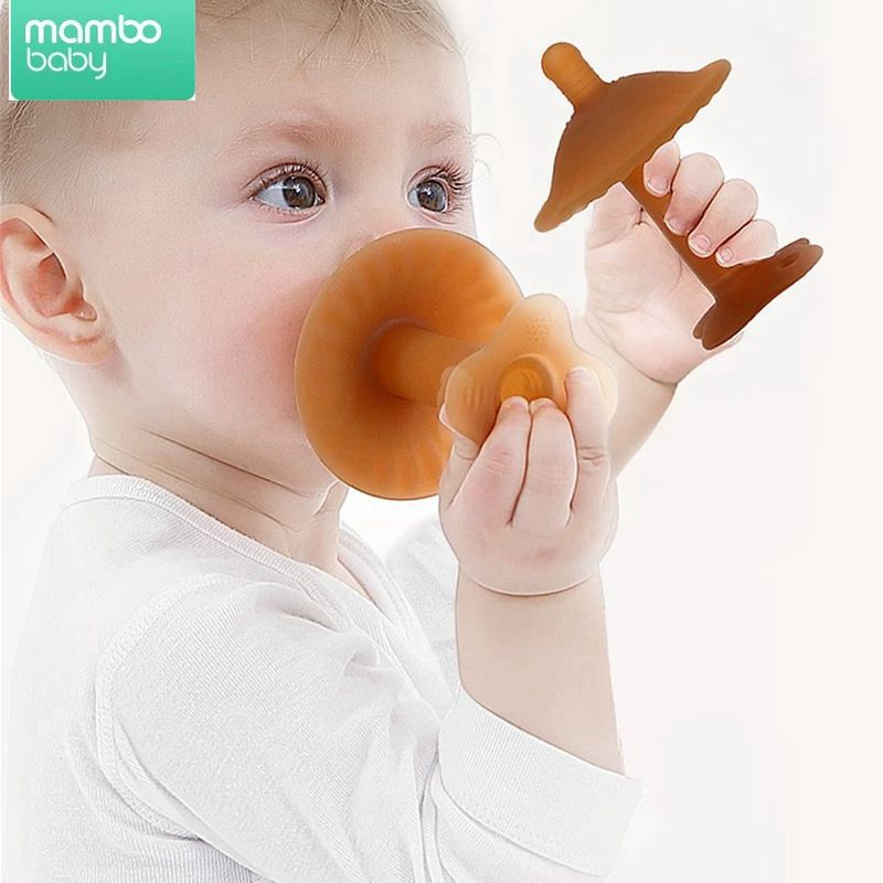 Baby Silicone Teether Baby Pacifier Simulated Breast Soother Holder Baby Molar Stick Weaning Artifact