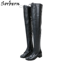Over-The-Knee-Boots Boots Spring Lace-Up Hoof Heels Round-Toe Women Sorbern for Unisex