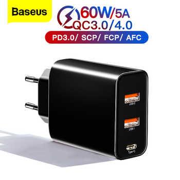 Cargador USB múltiple Baseus 60w de carga rápida 4,0 3,0 para iPhone Samsung iPad Pro Macbook SCP QC4.0 QC3.0 QC tipo C PD cargador rápido