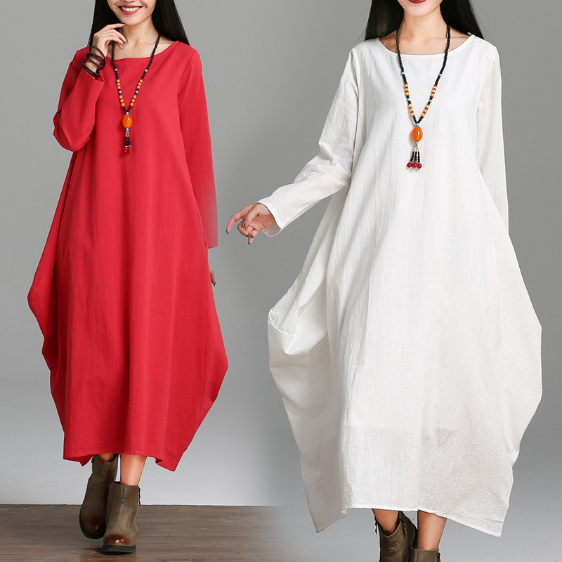 Spring And Autumn White Long-sleeved Cotton Linen Dress Women's Retro Long Skirts Ethnic-Style Loose And Plus-sized Flax Robe Mi