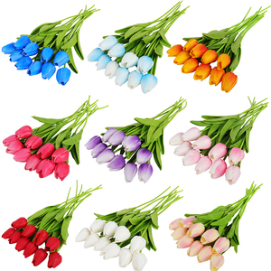 10 20 30 Heads Artificial Flowers Real Touch Tulips Wedding Bouquets Flowers Fake PU Tulips for Wedding Decoration Home Garden