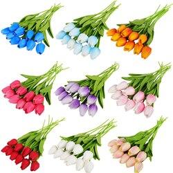 10 20 30 głów sztuczne kwiaty prawdziwy dotyk tulipany bukiety ślubne kwiaty fałszywe PU tulipany do dekoracji ślubnych Home Garden