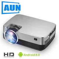 AUN nuevo MINI Proyector Q6S-AD, 1280x720P Android 8,0 WIFI 2600 lúmenes, Proyector LED para cine en casa 1080P, Proyector de vídeo 3D.