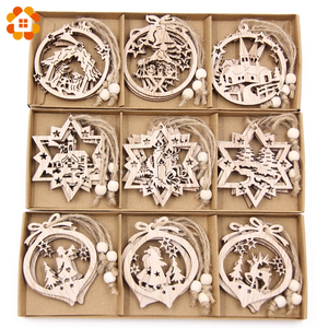 12PCS/Box Vintage Hollow Christmas Wooden Pendants Ornaments Christmas Party Decorations Christmas Tree Ornaments Hanging Gifts(China)