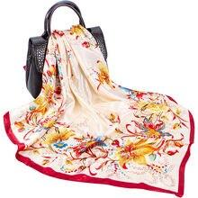 Женский модный имитирующий шелковый шарф квадратный бандана