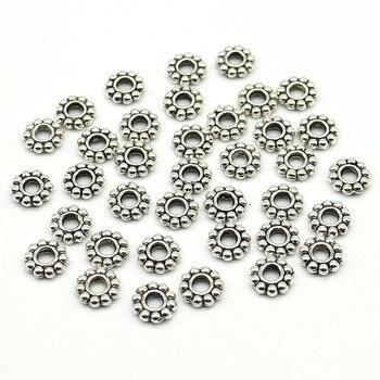 6 мм Оптовая Продажа 100 шт/200 шт./лот ромашки цветок Распорки бисера металлический тибетский серебряный цвет Распорки бусины для изготовления ювелирных изделий отверстие 2 мм